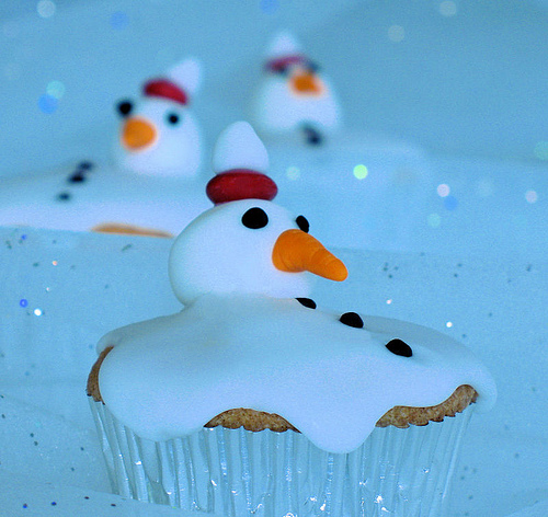 Melting Snow man Cupcake