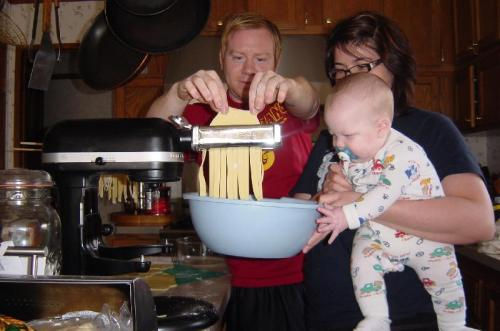 Even baby Skyler helped cut the noodles!