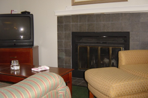 A fireplace in the room!